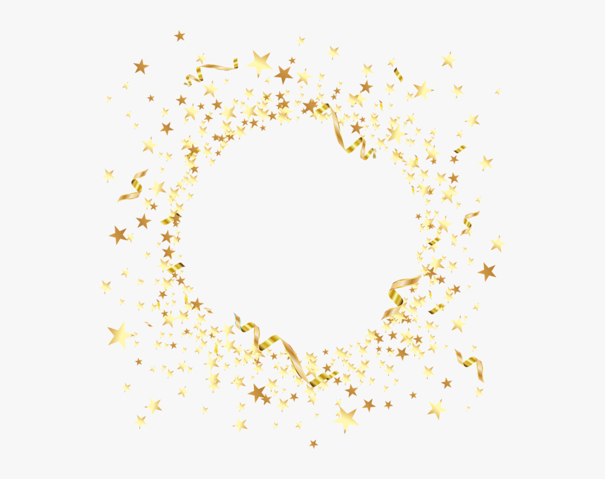 Round Element With Gold Stars Png Clip Art - Decorative Gold Stars Png, Transparent Png, Free Download