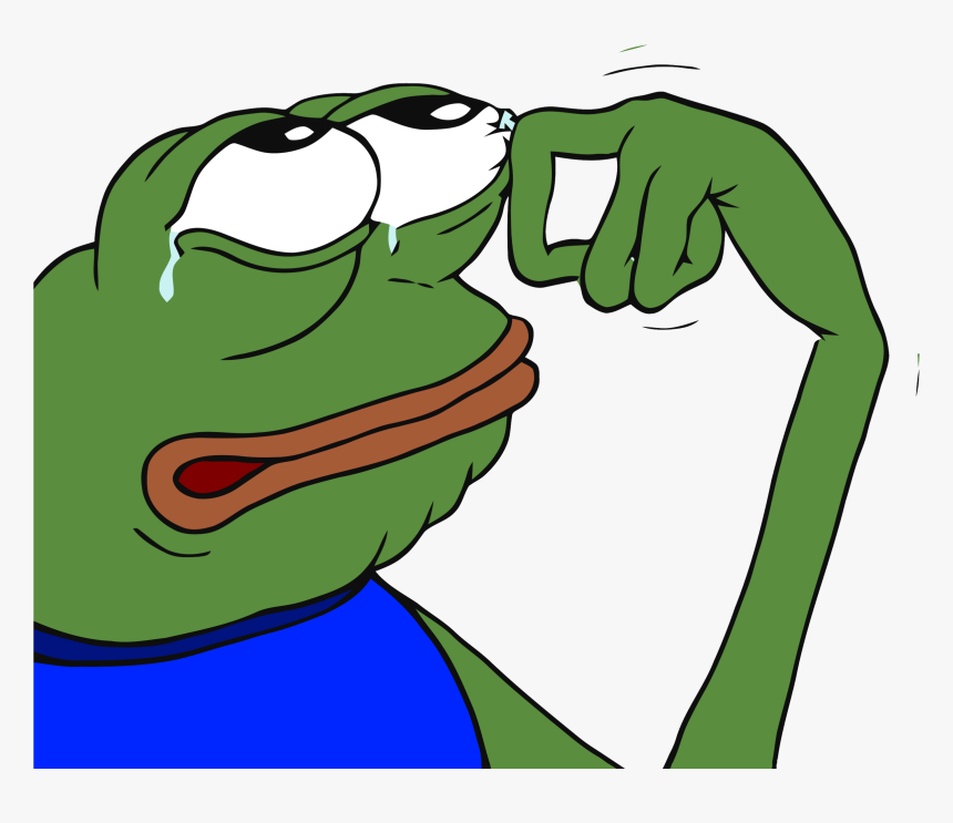 Crying Pepe - Green Frog Meme Crying, HD Png Download, Free Download