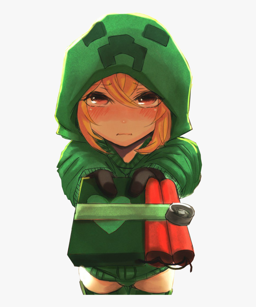 Minecraft Anime Creeper Girl Hd Png Download Cute Anime Minecraft Girl Transparent Png Kindpng