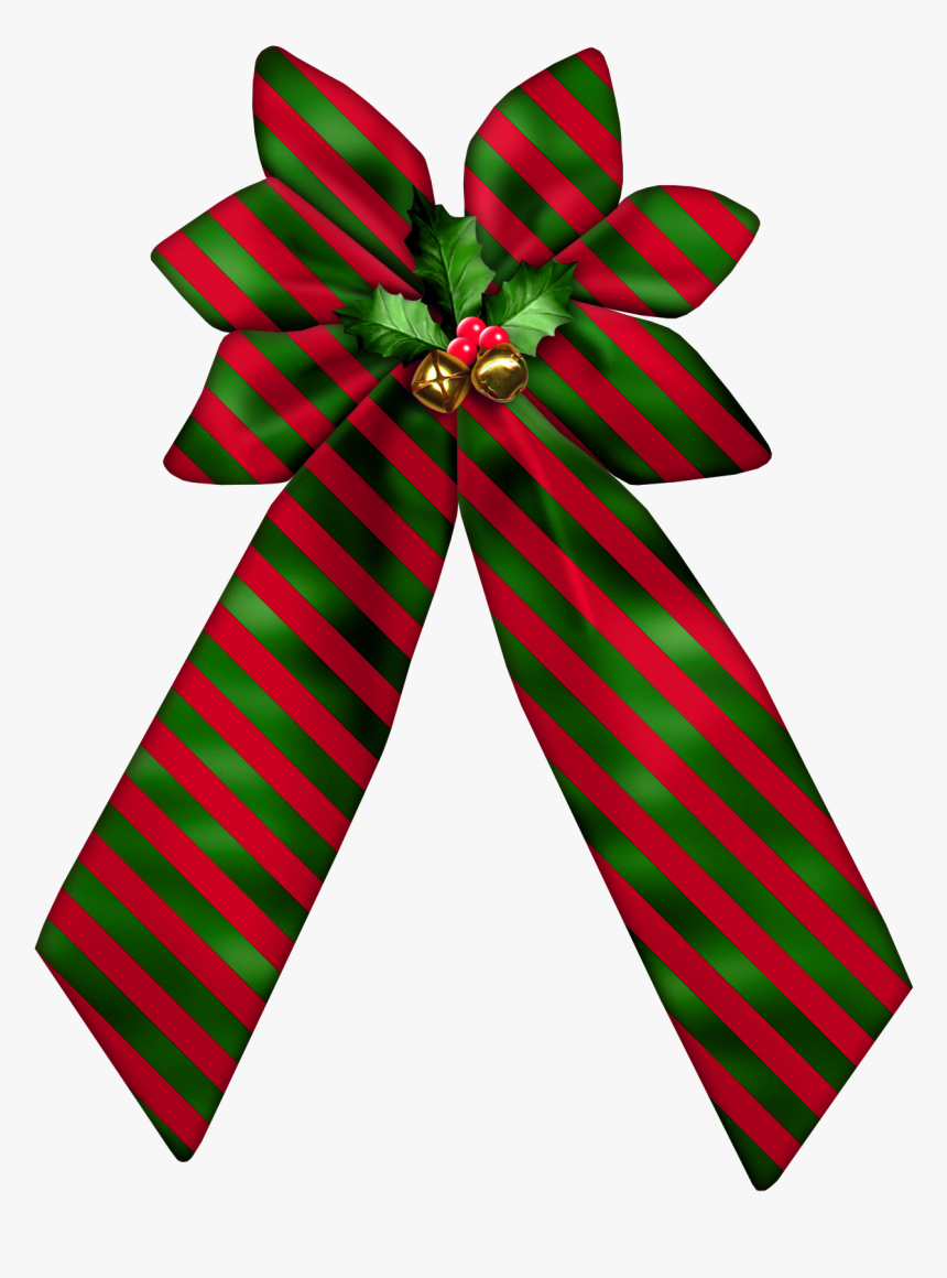Christmas Striped Bow Png Clipart - Clipart Christmas Bows, Transparent Png, Free Download