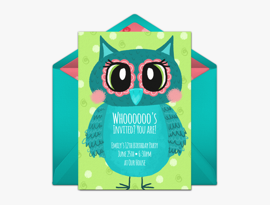 Teal Owl Birthday Invitations, HD Png Download, Free Download
