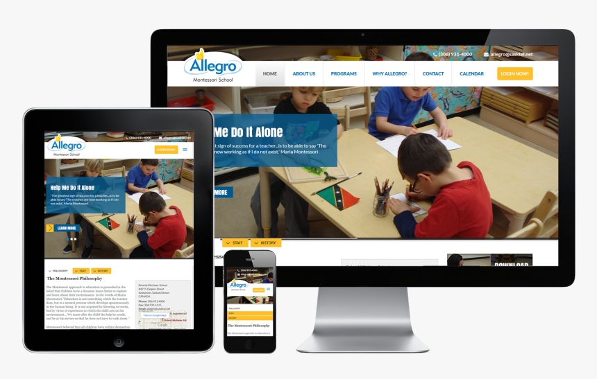 Allegro Montessori School Displayed On Imac, Ipad, - Website ...
