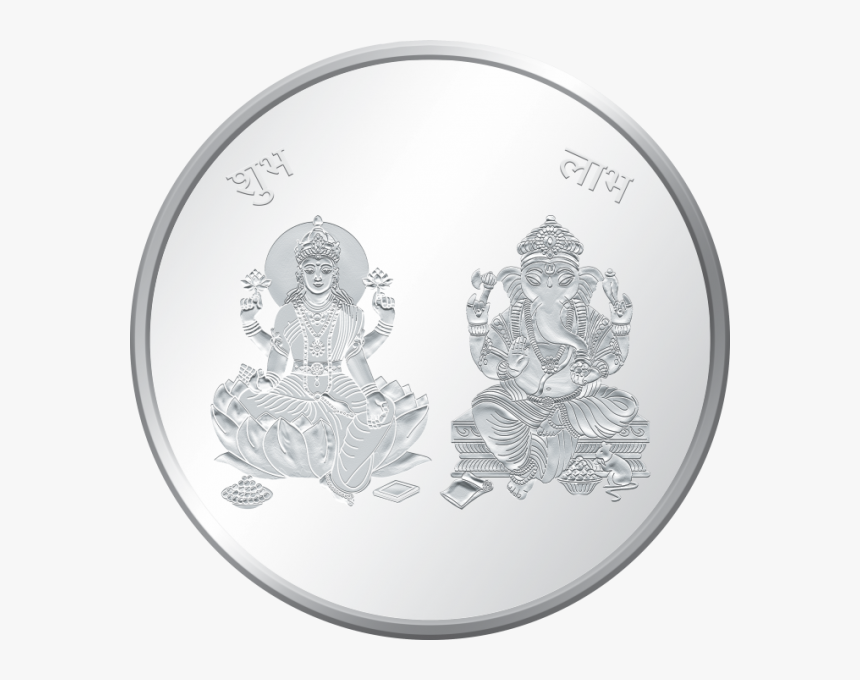 Moah Coin Of Lakshmi Ji & Lord Ganesh, 999 Purity, - Illustration, HD Png Download, Free Download