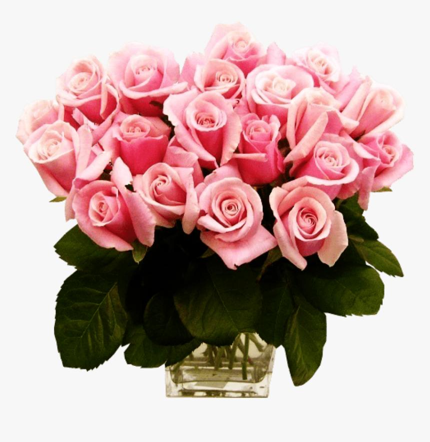Free Png Download Pink Roses Transparent Vase Bouquet - Pink Roses, Png Download, Free Download