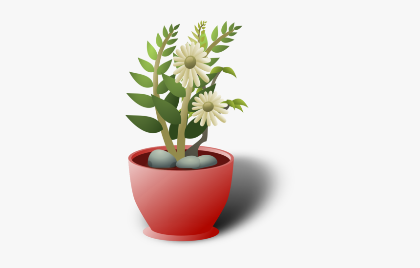 White Flower Pot - Plants Clip Art, HD Png Download, Free Download