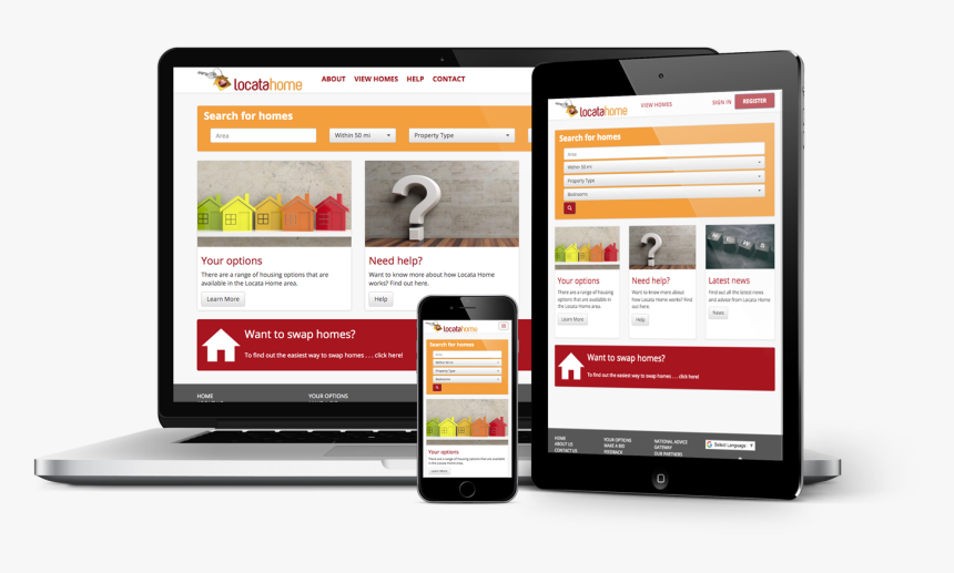 Locata Lettings Website Shown On Laptop, Tablet And - Online Advertising, HD Png Download, Free Download