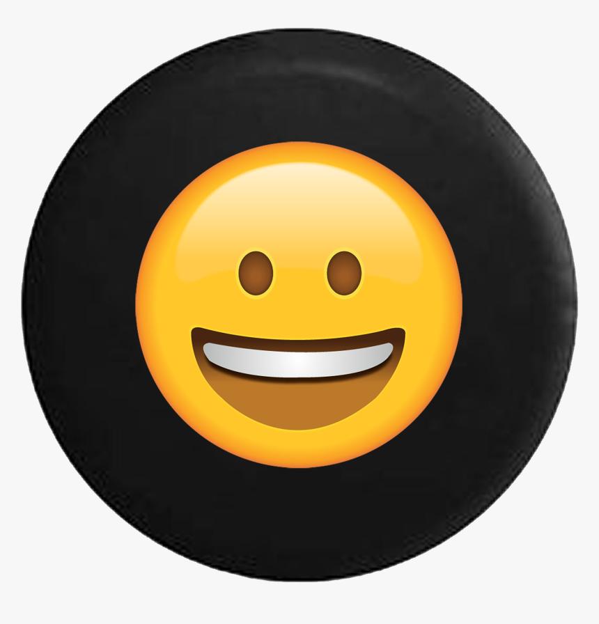 Grinning Smiling Text Emoji Face Eyes Open - Happy Emoji Black Background, HD Png Download, Free Download