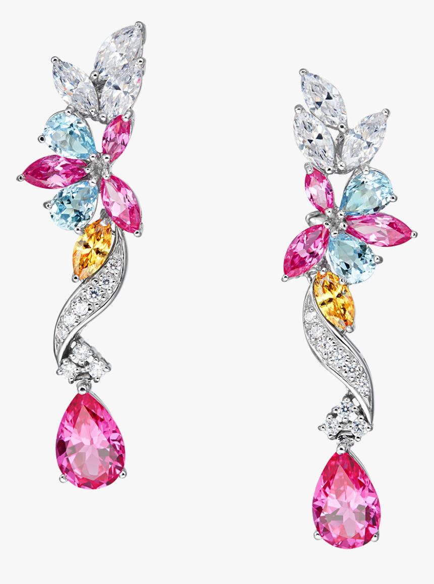 Georgette Floral Drop Pink Earrings, HD Png Download, Free Download