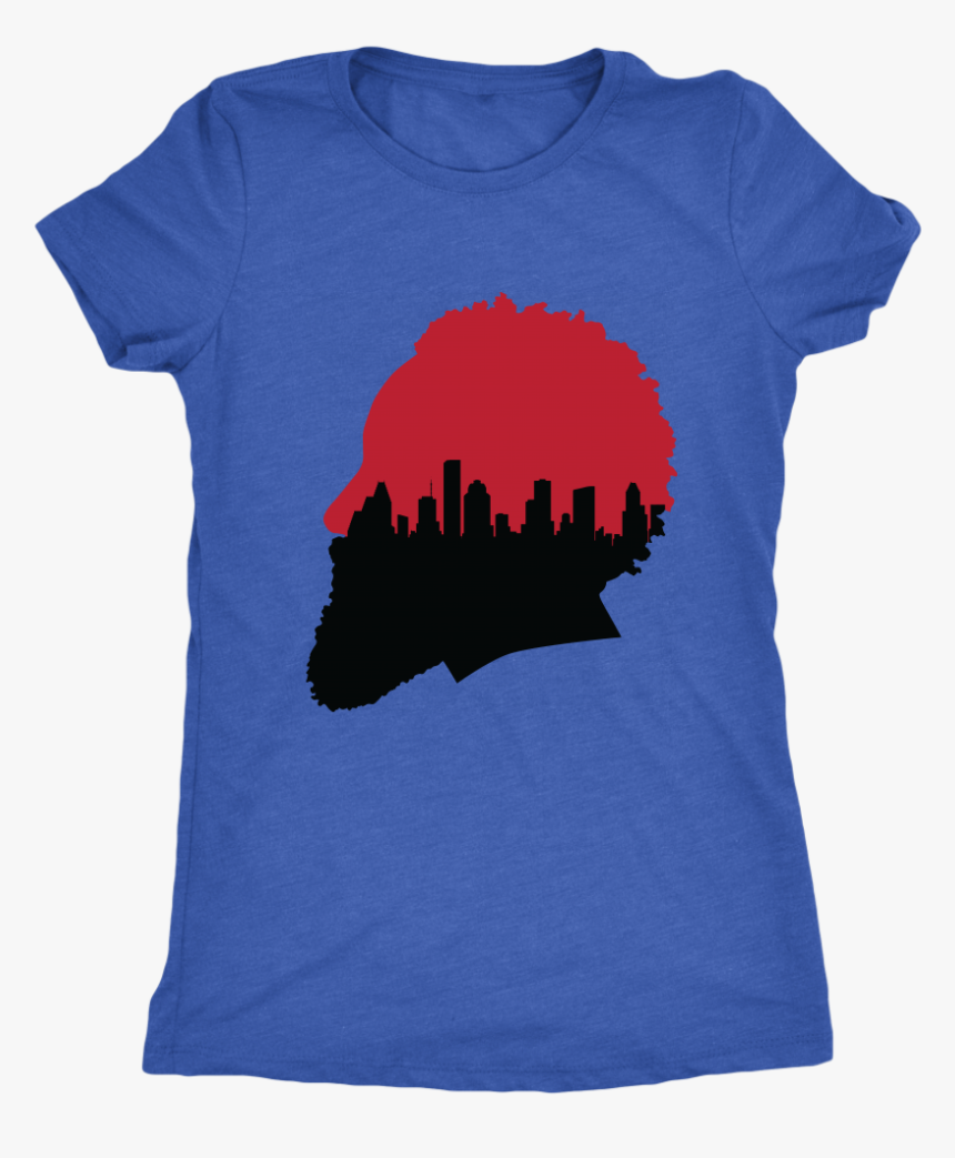 """Harden Silhouette With Houston Skyline Women""""s Triblend, HD Png Download, Free Download"""