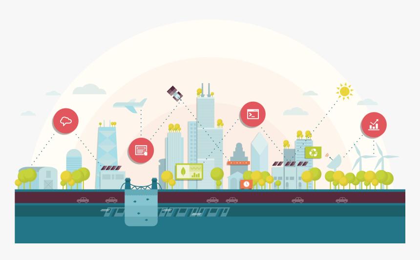 Illustration Of Digital Communication In Chicago Skyline, HD Png Download, Free Download