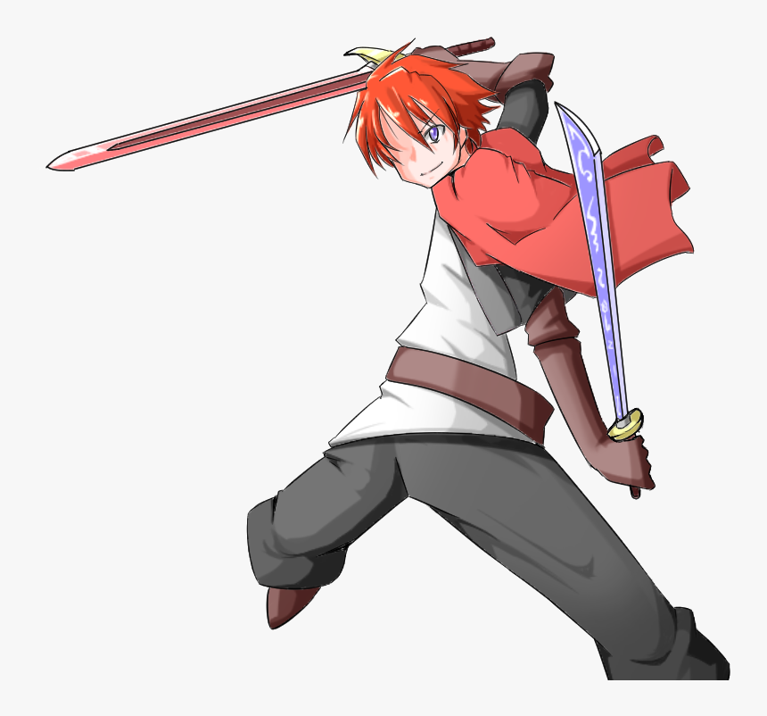 Red Hair Boy Dual Sword By Edelritter0519 - Anime Boy Red Hair Sword, HD Png Download, Free Download