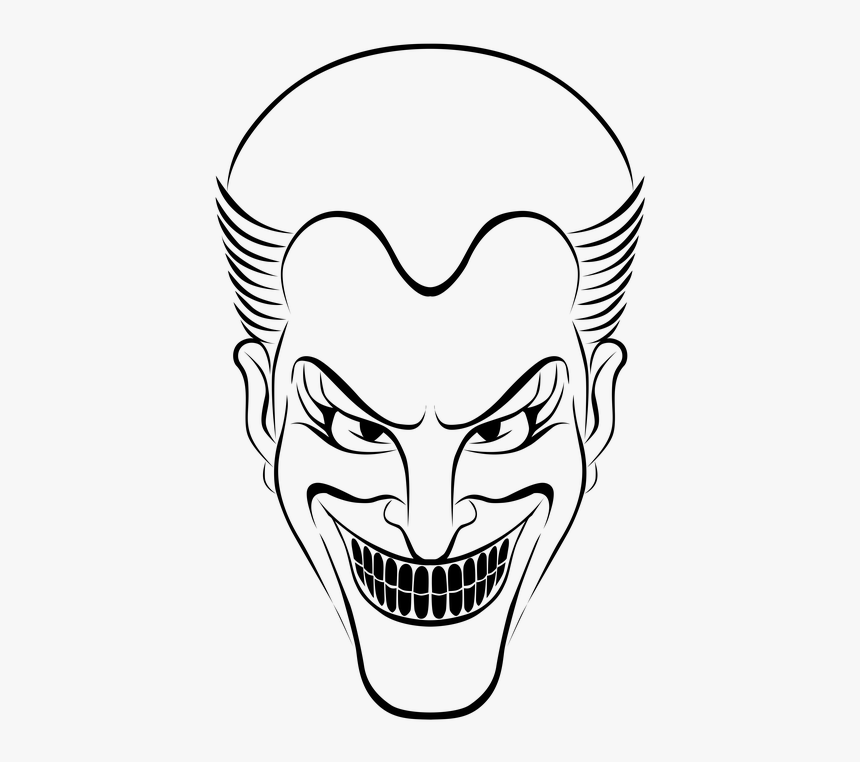 Horror, Spooky, Autumn, Head, Ghost, Evil, Dark, Teeth - Joker For Halloween Coloring, HD Png Download, Free Download