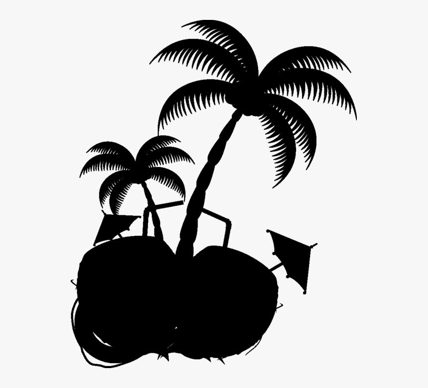 Coconut Palm Trees Clip Art Silhouette Leaf - Palmera Blanco Y Negro, HD Png Download, Free Download