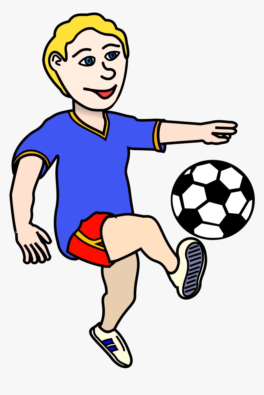 Soccer Playing Boy Coloured - Football Playing Clipart Png, Transparent Png, Free Download