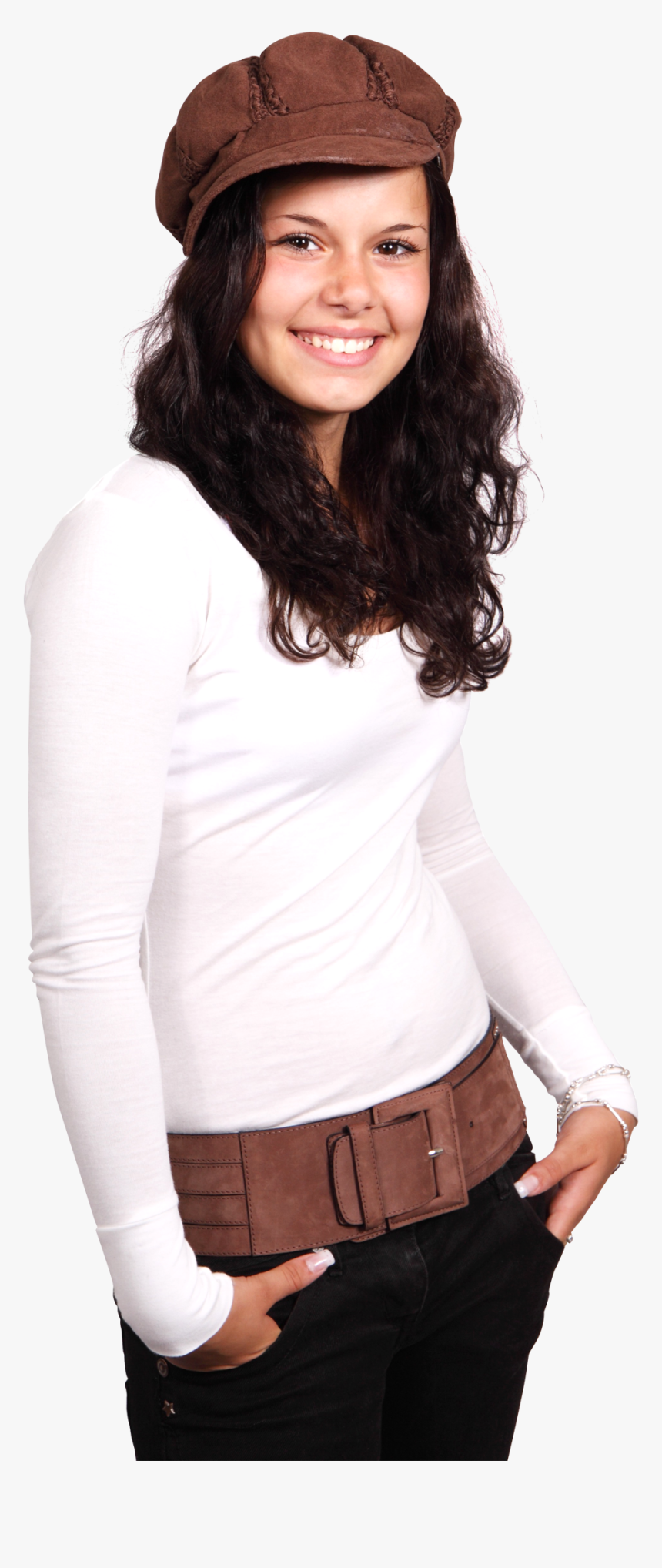 Young Smiling Woman Wearing A White T Shirt And Brown - Female Model Wearing T Shirt Png, Transparent Png, Free Download