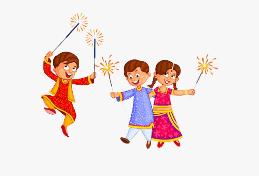 Sparklers Clipart Cracker Line - Kids Diwali Clipart, HD Png Download, Free Download
