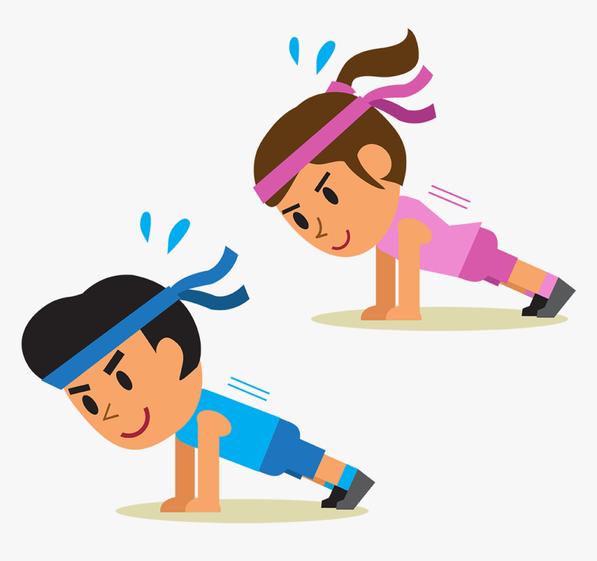Physical Exercise Cartoon Plank Stretching, HD Png Download, Free Download