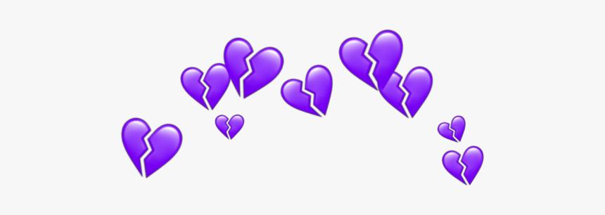 #purple #heart #crown #heartcrown #tumblr #aesthetic - Broken Blue Heart Emoji, HD Png Download, Free Download