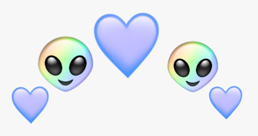 #alien #heart #emoji #rainbow #blue #aesthetic #pastelcolors - Emojis Alien Blue Png, Transparent Png, Free Download