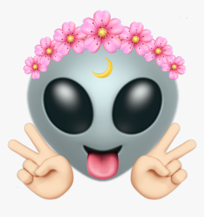 This Is So Cute I Really Love It 💓 - Flower Crown Alien Emoji, HD Png Download, Free Download