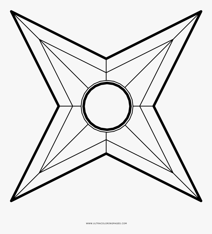 Shuriken Coloring Page   Stained Glass Pattern Easy, HD Png ...