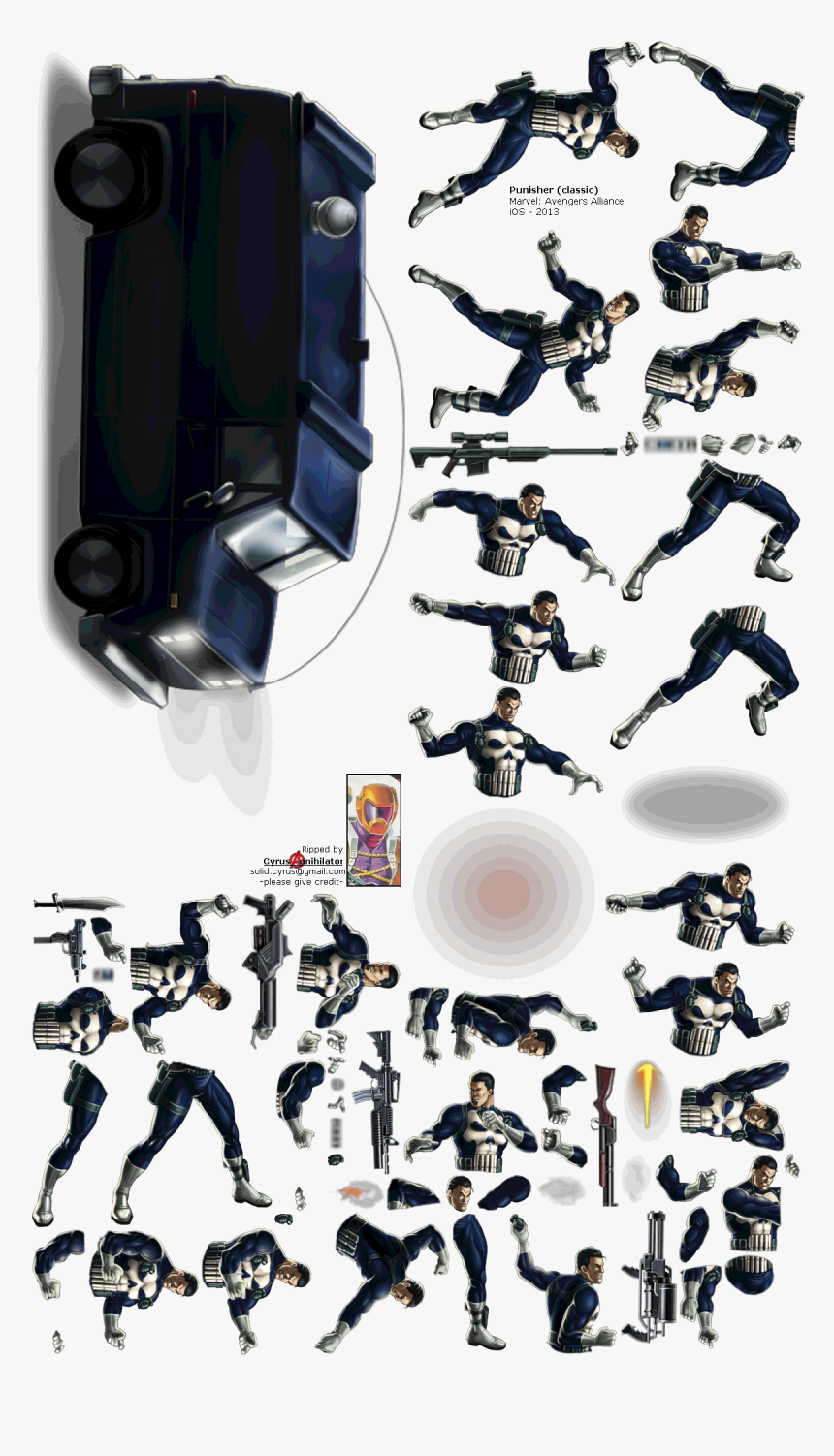 Click For Full Sized Image Punisher - Punisher The Spriters Resources, HD Png Download, Free Download