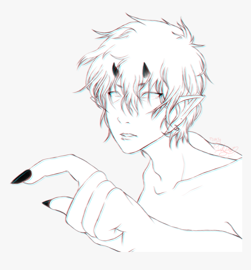 Drawing Line Art Cartoon Sketch - Anime Aesthetic Boy Transparent, HD Png Download, Free Download