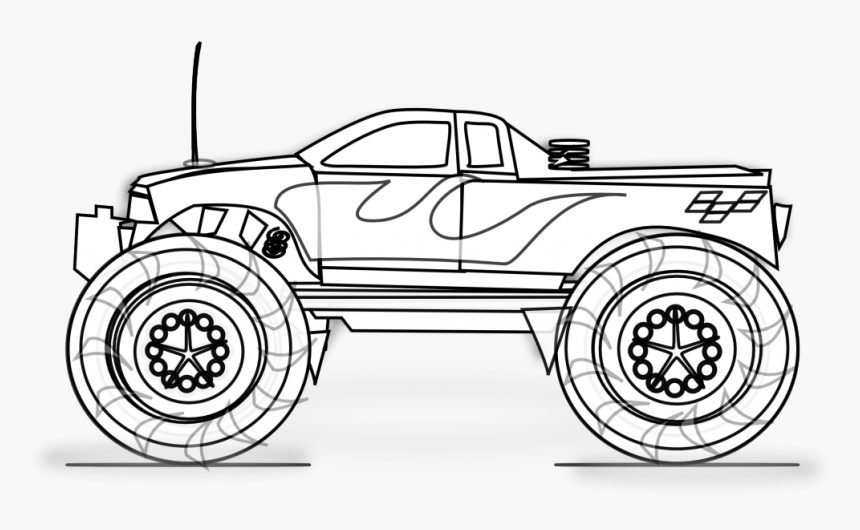 Monster Truck Png Black And White Monster Truck Clipart Black And White Transparent Png Kindpng