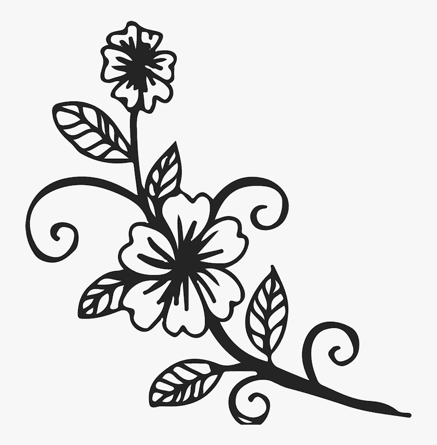 Blooming Flowers On Vine Rubber Stamp Flower Vine Clipart Black And White Hd Png Download Kindpng