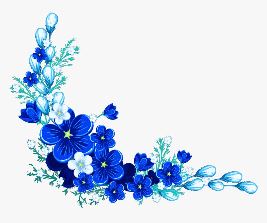 Digital Flower Frame Blue Flower Border Transparent Background