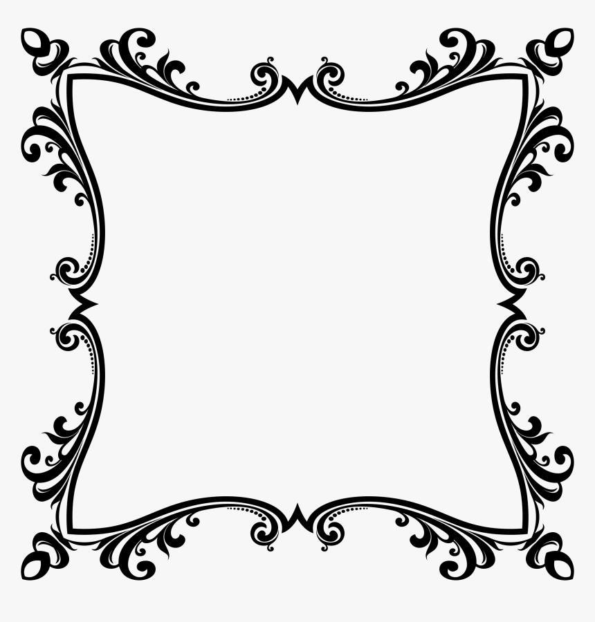 Flower Border Design Black And White, HD Png Download, Free Download