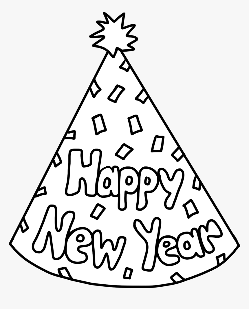 Clip Art New Years Hat Clip Art - Happy New Year Hat Coloring Pages, HD Png Download, Free Download