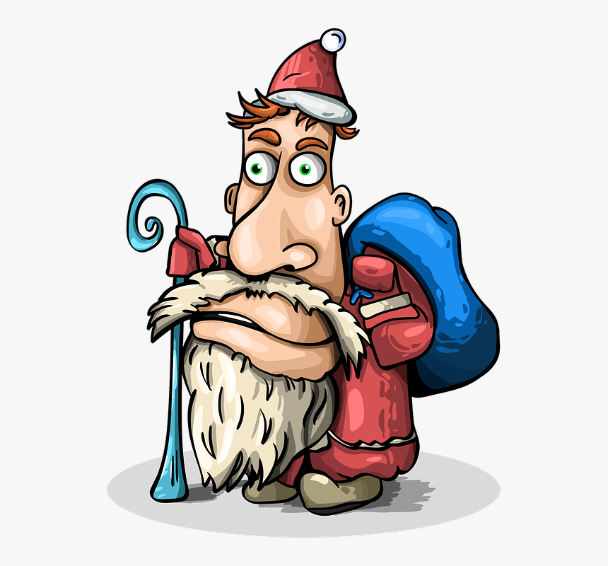 "Santa Claus, New Year""s Eve, Christmas, Gifts, Blue - Cartoon, HD Png Download, Free Download"