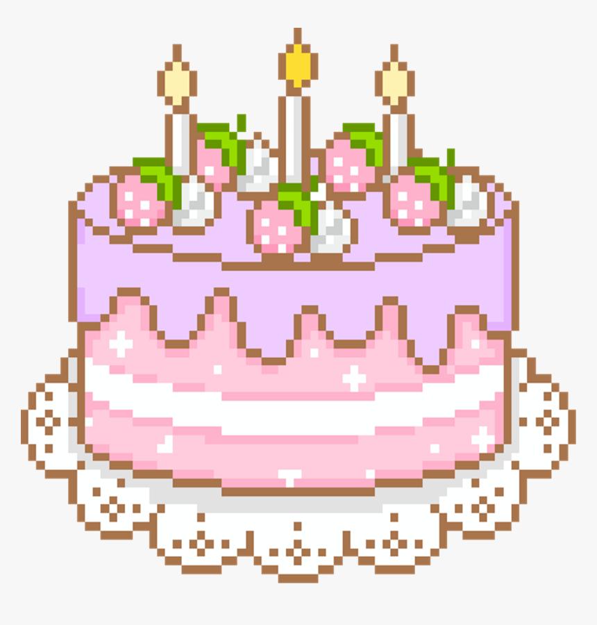 Pleasing Cake Cute Aesthetic Kawaii Pixel Uwu Freetoedit Pixel Personalised Birthday Cards Veneteletsinfo