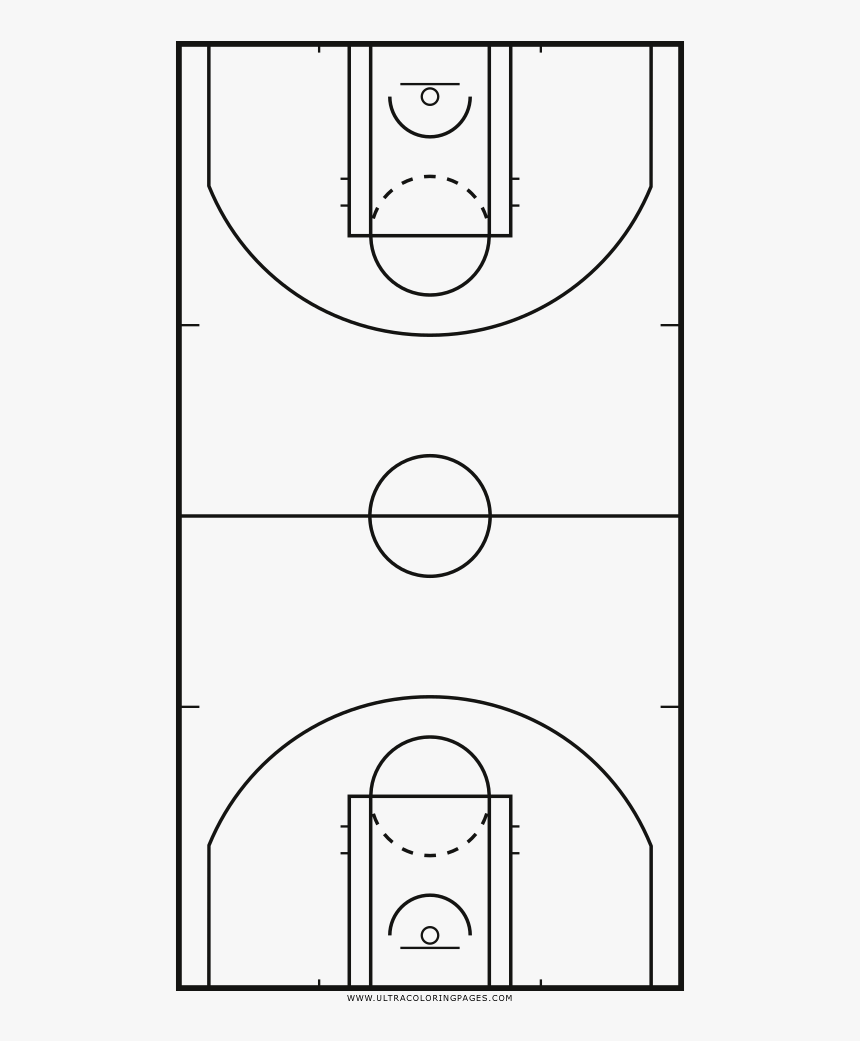 Basketball Court Coloring Page - Campo Da Basket Da Stampare, HD Png Download, Free Download