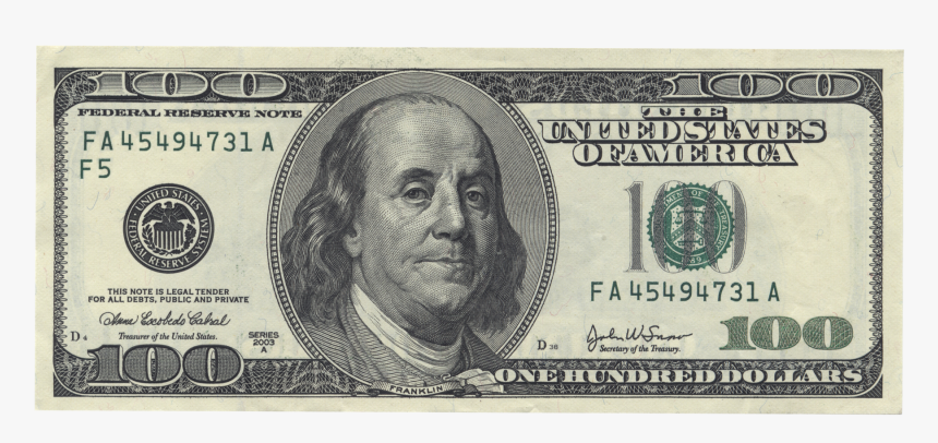 Benjamin Franklin United States One Hundred Dollar - 100 Us Dollar, HD Png Download, Free Download