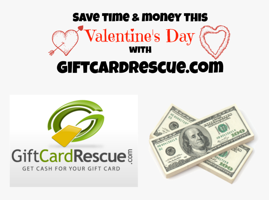 """Save Time & Money This Valentine""""s Day With Giftcardrescue - 100 Us Dollar, HD Png Download, Free Download"""
