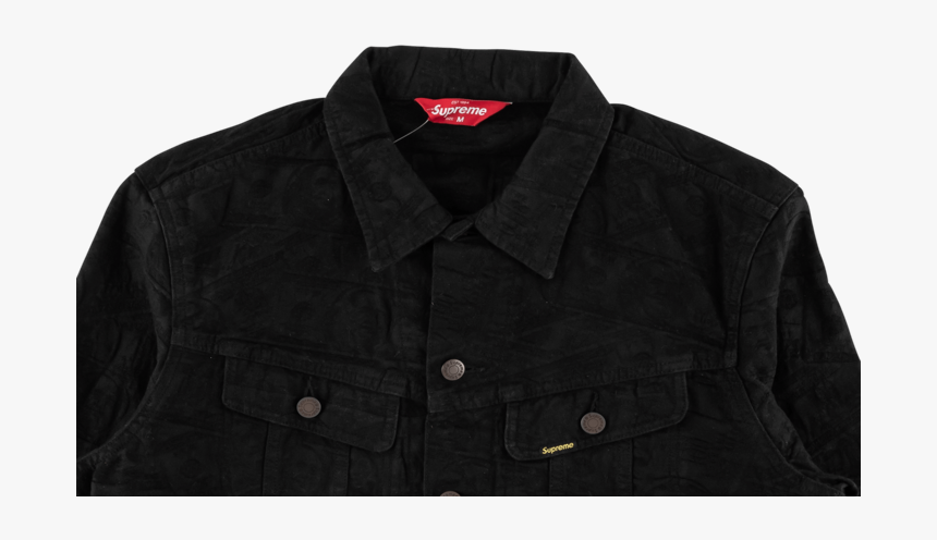 """Supreme 100 Dollar Bill Trucker Jacket """"fw - Button, HD Png Download, Free Download"""