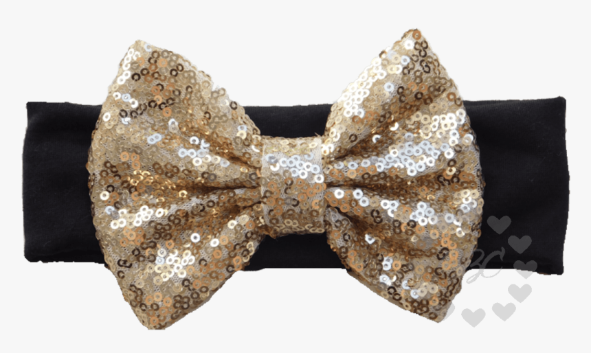 Black Headband With Gold Sequin Bow - Headband, HD Png Download, Free Download