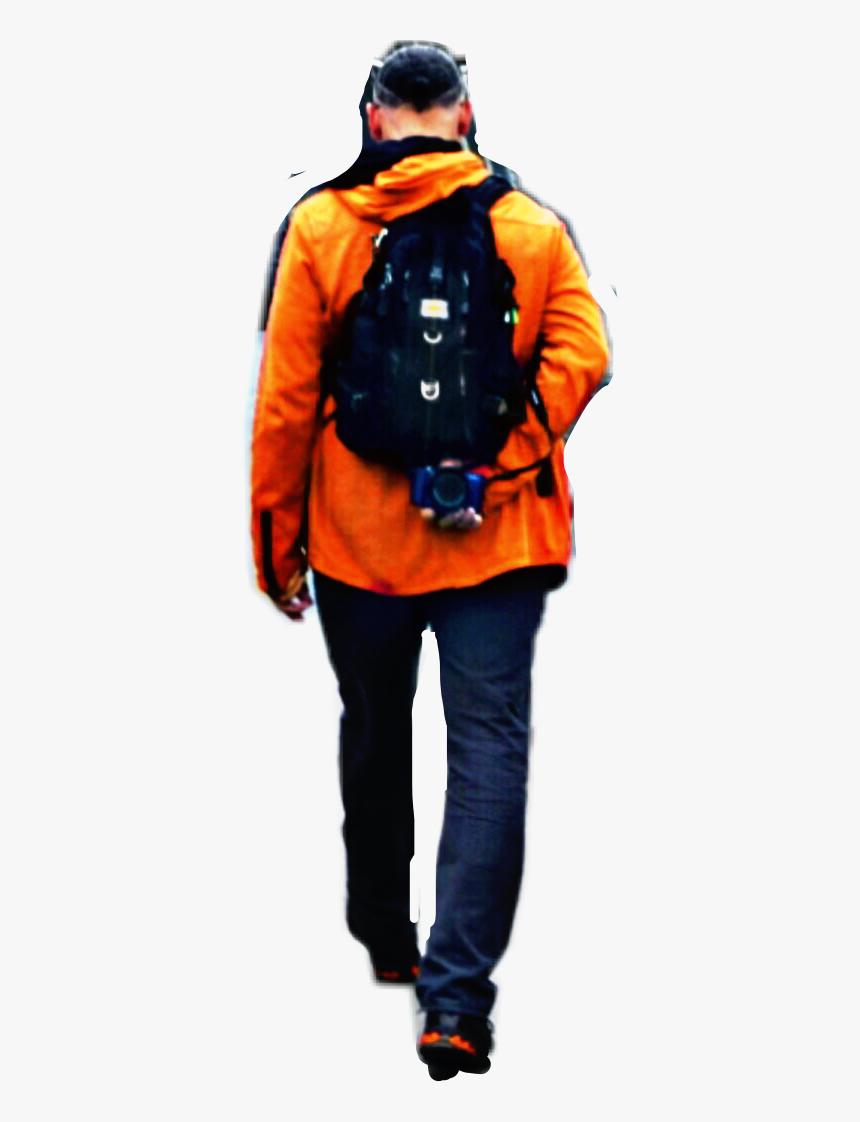 #man #walking #away #orange #jacket #backpack #boy - Man Walking Away Png, Transparent Png, Free Download