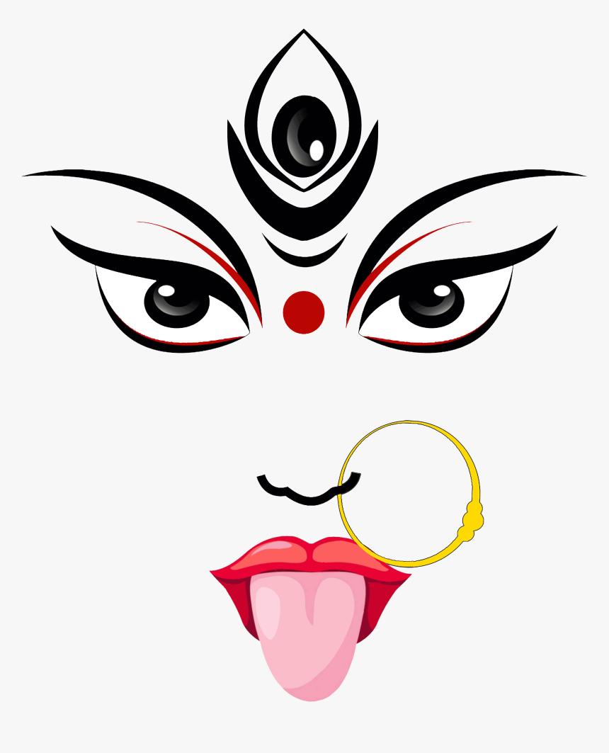 Maa Kali Clip Art , Png Download - Durga Maa Face Drawing, Transparent Png, Free Download