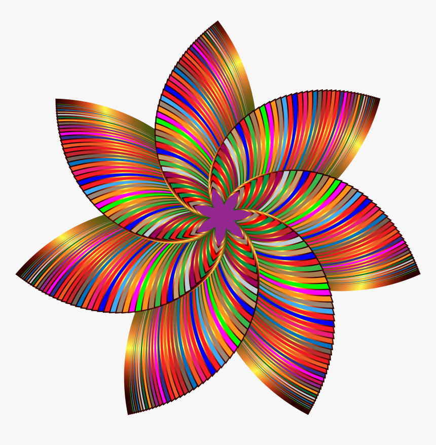 Colorful Flower Line Art 3 Clip Arts - Colorful Flower Art Png, Transparent Png, Free Download