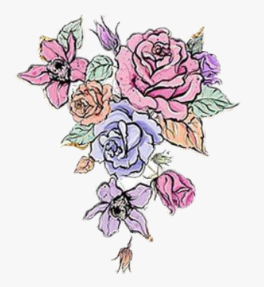 #watercolor #roses #flowers #colorful #floral #bouquet - Floribunda, HD Png Download, Free Download