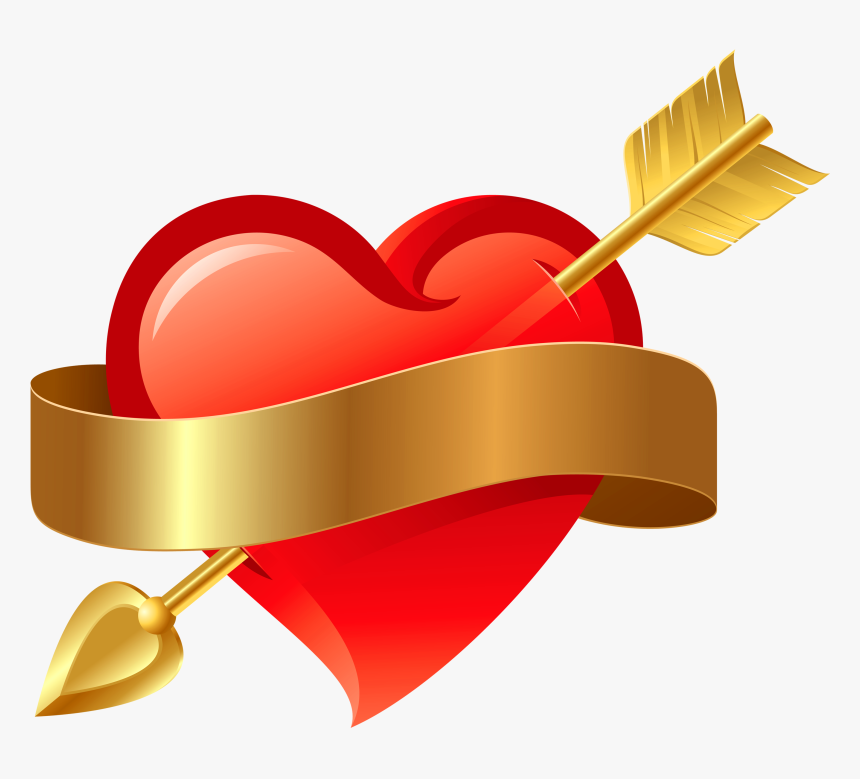 Heart Png With Arrow Transparent - Red Heart With Arrow, Png Download, Free Download