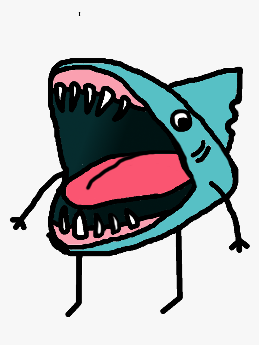 Drawing Shark Open Mouth Clipart , Png Download - Cartoon Shark Drawing Mouth Open, Transparent Png, Free Download