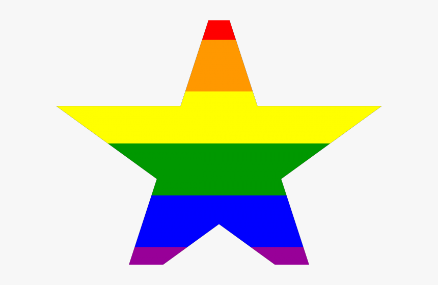 Polygon Clipart Five Point Star - Gay Pride Star, HD Png Download, Free Download