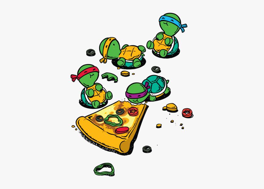Pizza Clip Ninja Turtle - Draw Ninja Turtles Eating Pizza, HD Png Download, Free Download