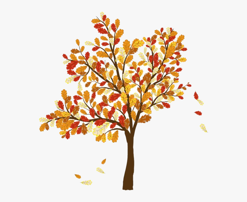 Fall Leaves Falling Off Trees Great Free Silhouette Tree With Falling Leaves Drawing Hd Png Download Kindpng