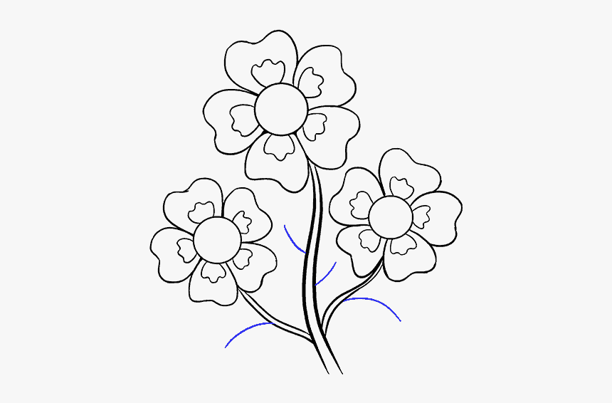 How To Draw Cartoon Flowers Easy Step By Step Drawing Drawing Flower Images Hd Hd Png Download Kindpng