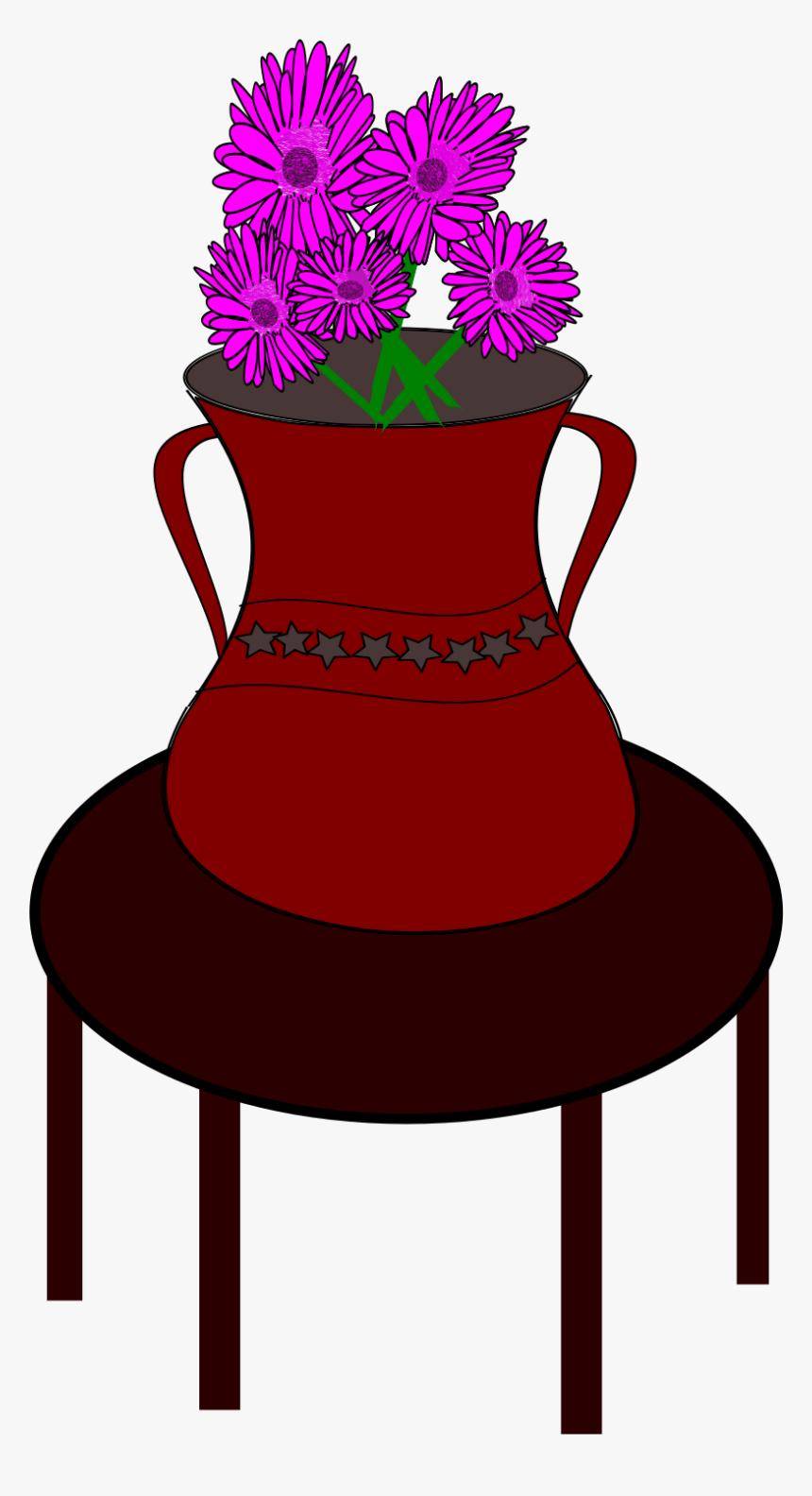 Flower Vase Clip Arts - Flower Vase On The Table, HD Png Download, Free Download